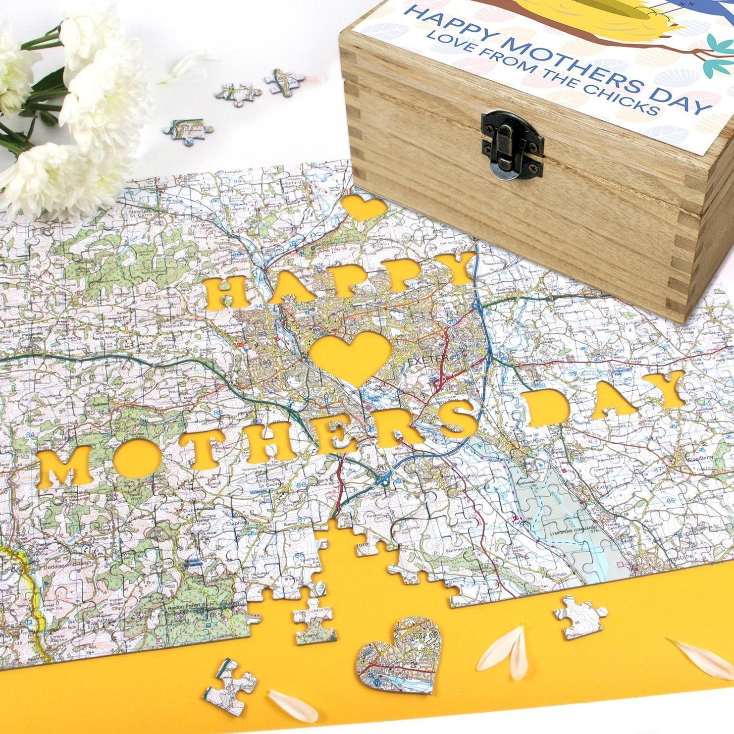 Image of Personalised Mother's Day Gift Set - Keepsake Box & Map Jigsaw Puzzle