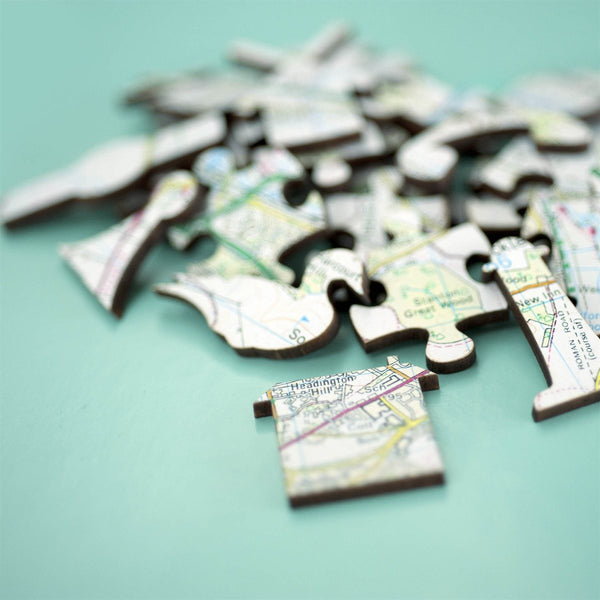 Jigsaw Puzzle - Personalised Wooden Heirloom Map Jigsaw - Premium Gloss Wood