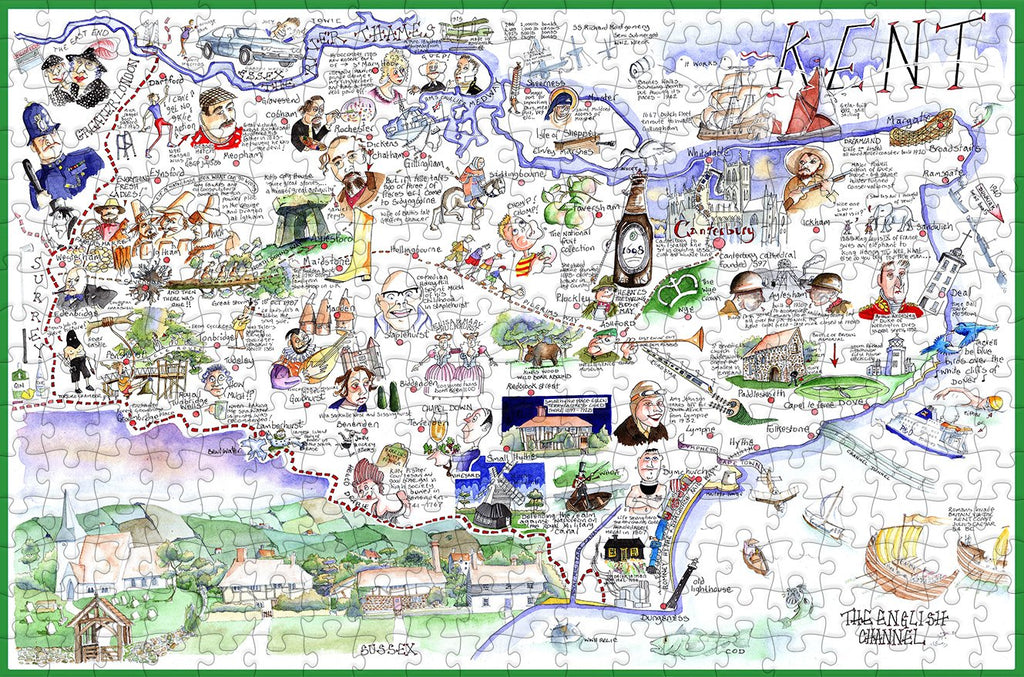 Map of Kent - Tim Bulmer - 300 Piece Wooden Jigsaw Puzzle