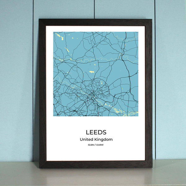 Leeds City Map Wall Art