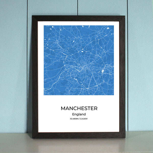 Manchester City Map Wall Art Manchester City Map Wall Art Poster with Wooden Frame