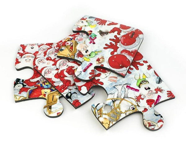 Map Gift - Christmas Jigsaw Coaster Set