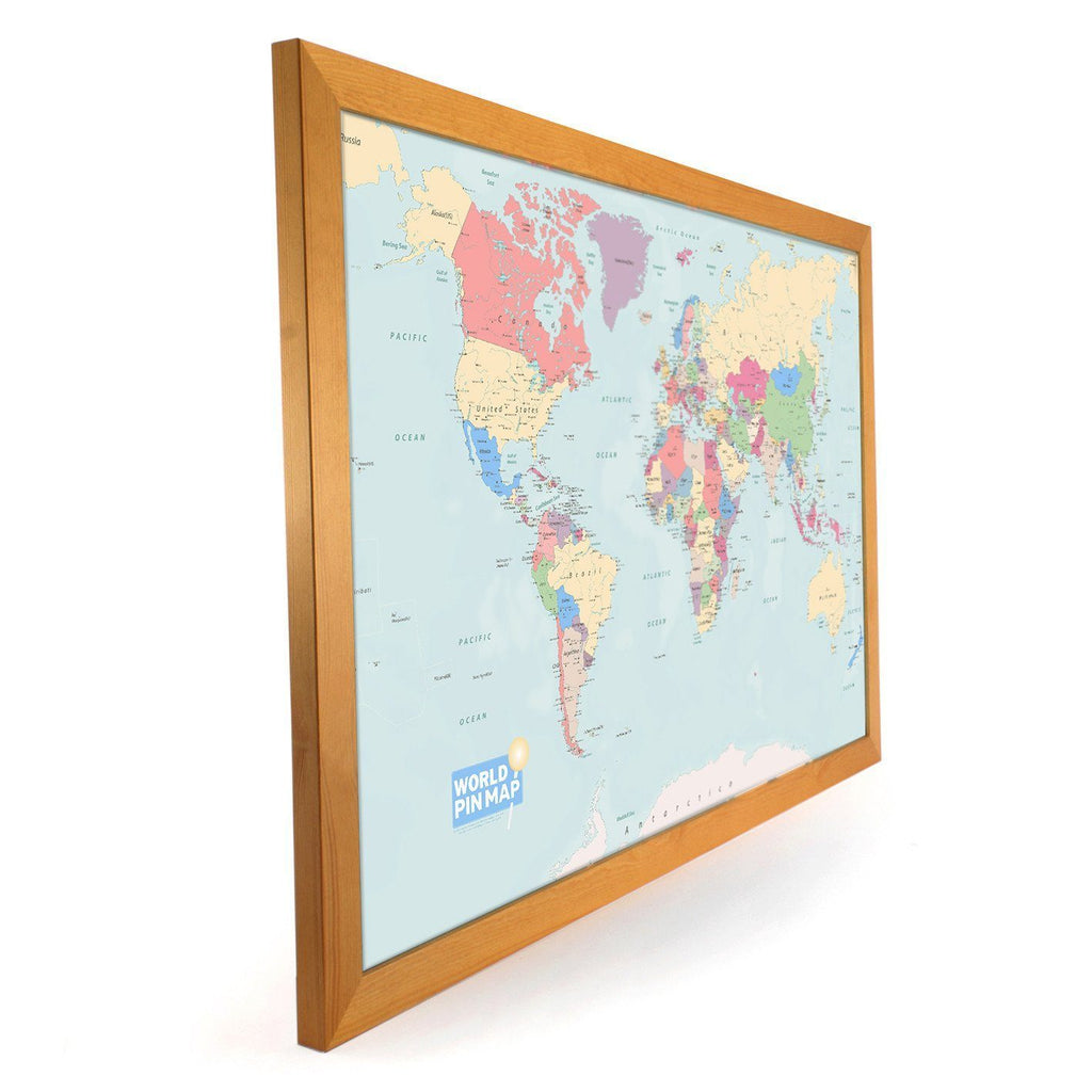 Framed pinboard map of the world with a write onwipe off surface map gift framed world map pinboard gumiabroncs Choice Image