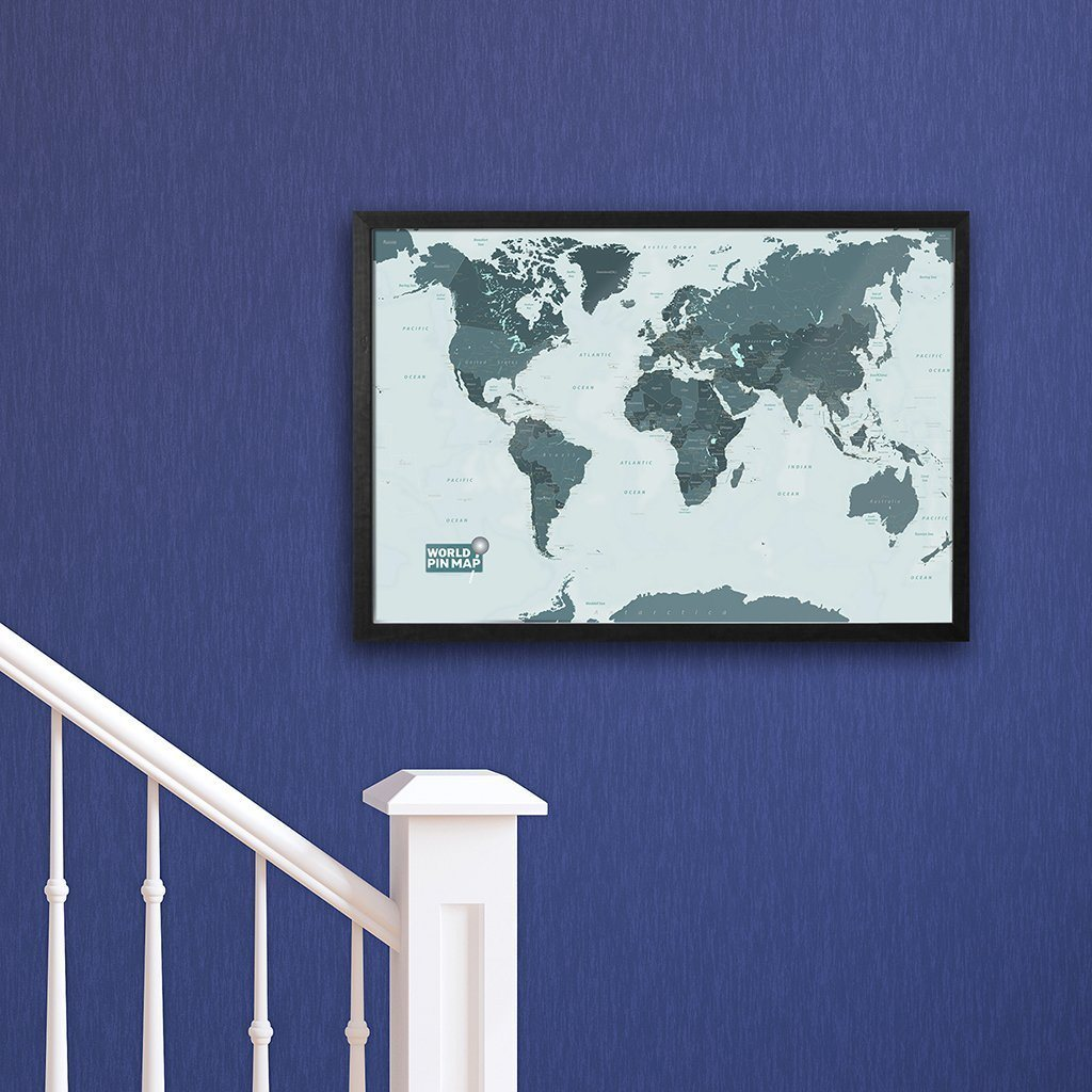 Framed pinboard map of the world with a write onwipe off surface map gift framed world map pinboard gumiabroncs