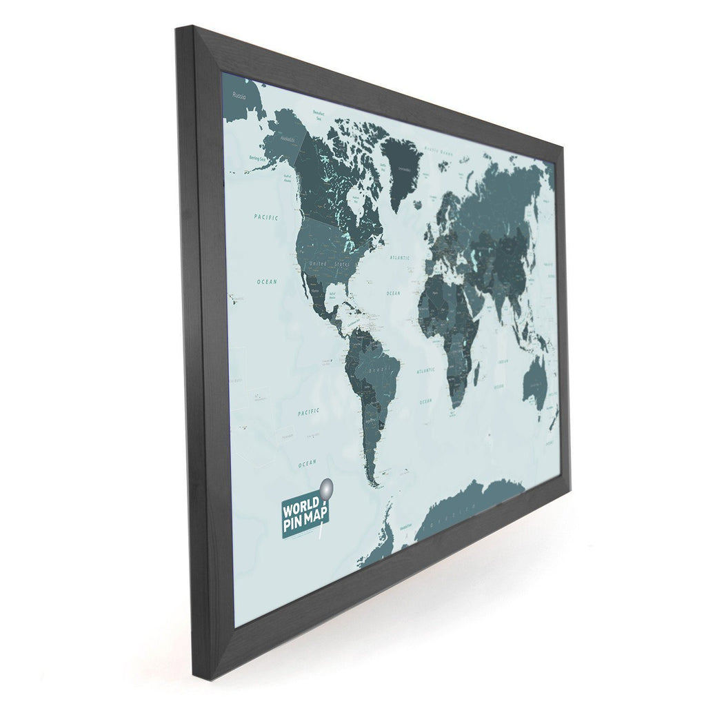 Framed pinboard map of the world with a write onwipe off surface map gift framed world map pinboard gumiabroncs Images
