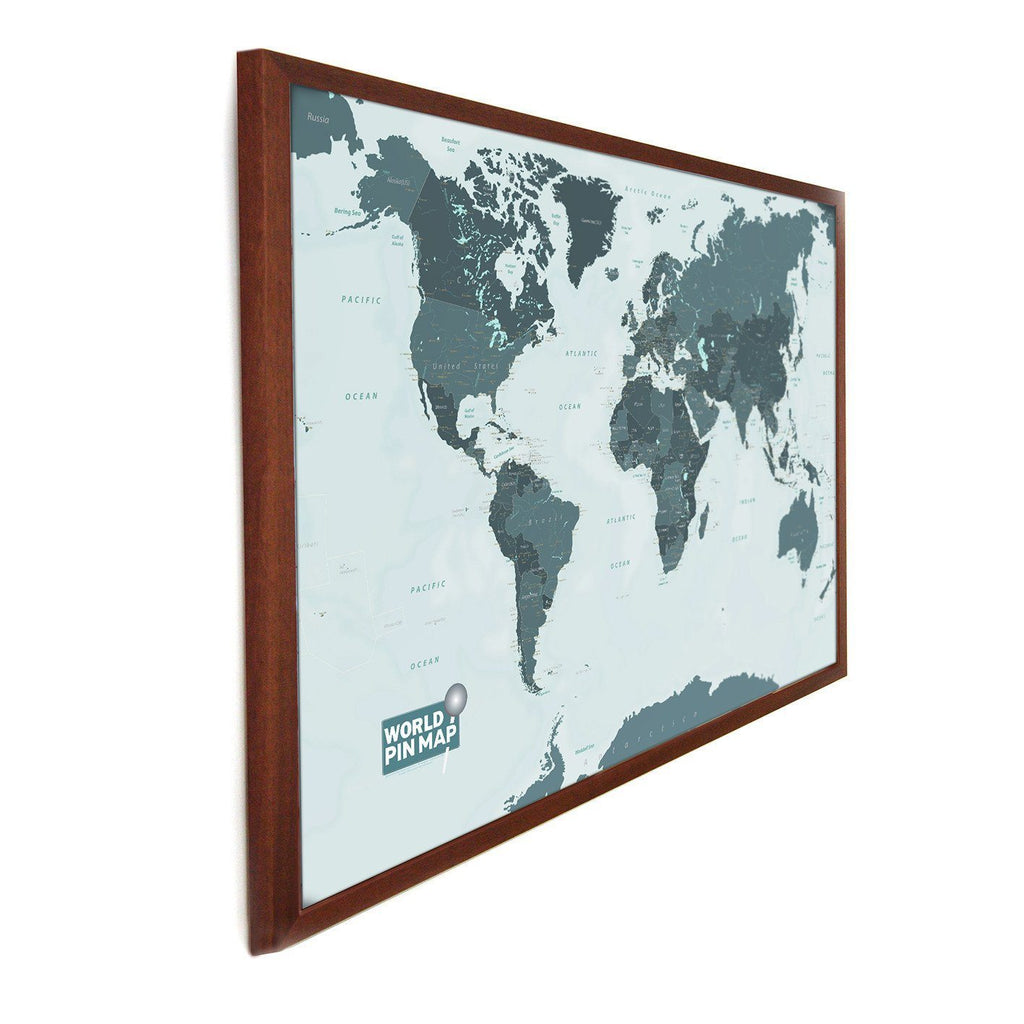Framed pinboard map of the world with a write onwipe off surface map gift framed world map pinboard gumiabroncs Image collections