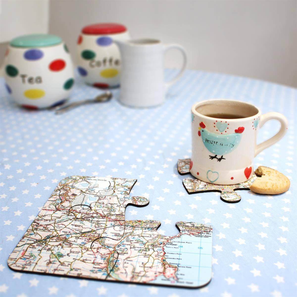 Map Jigsaw Coasters - Personalised on Your Location - party gifts