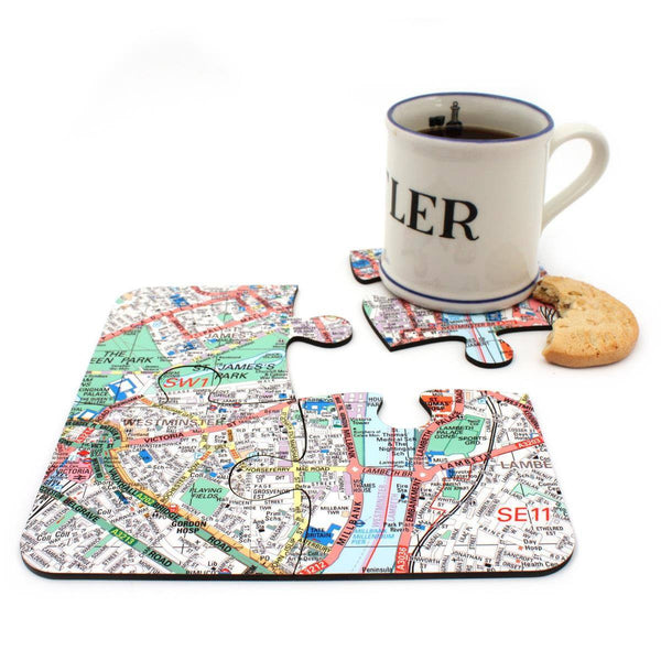 Map Gift - Map Jigsaw Coasters - Personalised On Your Location
