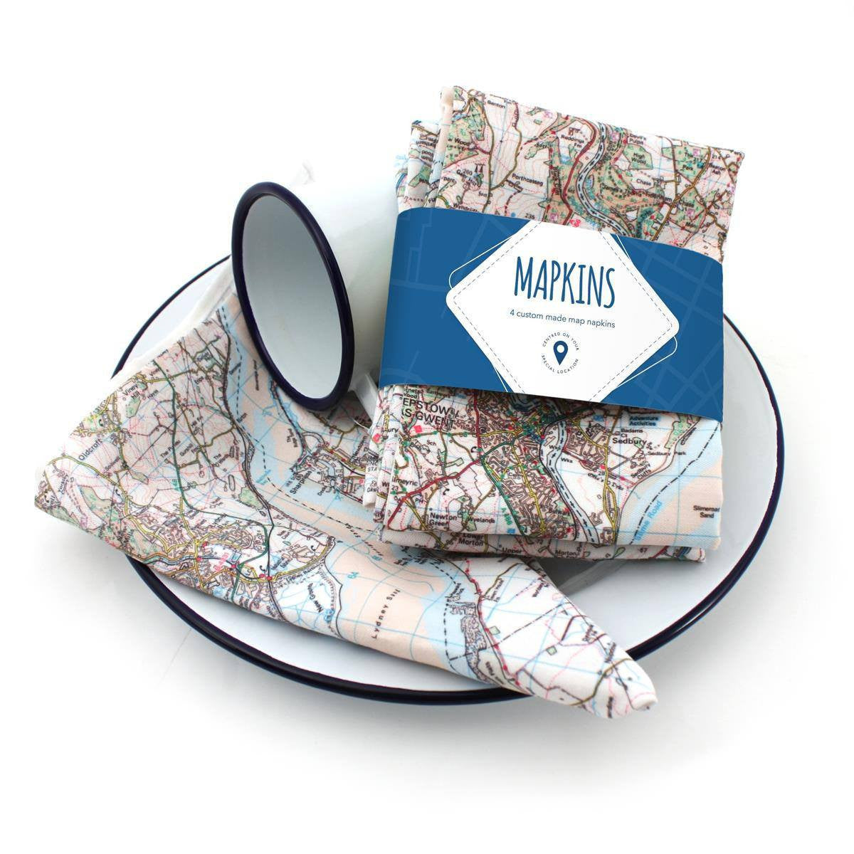 Map Napkins (Mapkins) Centred on Your Address (Set of 4) - Party Gifts
