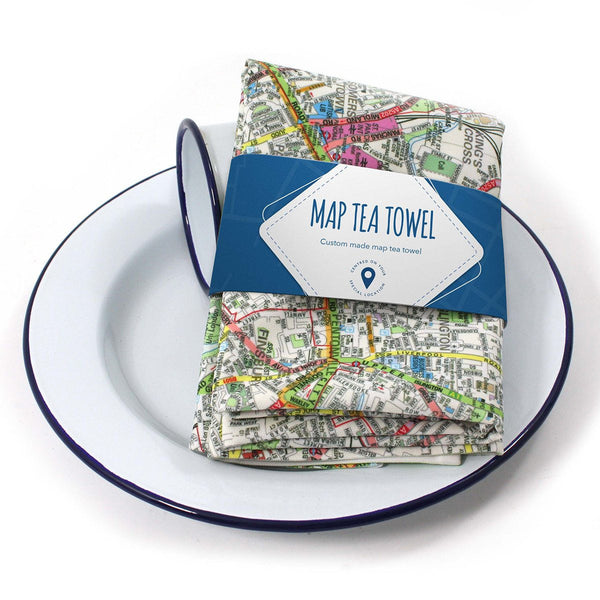 Map Gift - Personalised Cotton Map Tea Towel Personalised Map Tea Towel - 100% Cotton