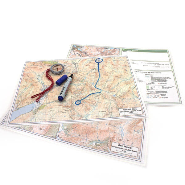 Map Gift - Three Peaks Challenge Maps, Ben Nevis, Scafell Pike And Snowdon Three Peaks Challenge Maps, Ben Nevis, Scafell Pike and Snowdon