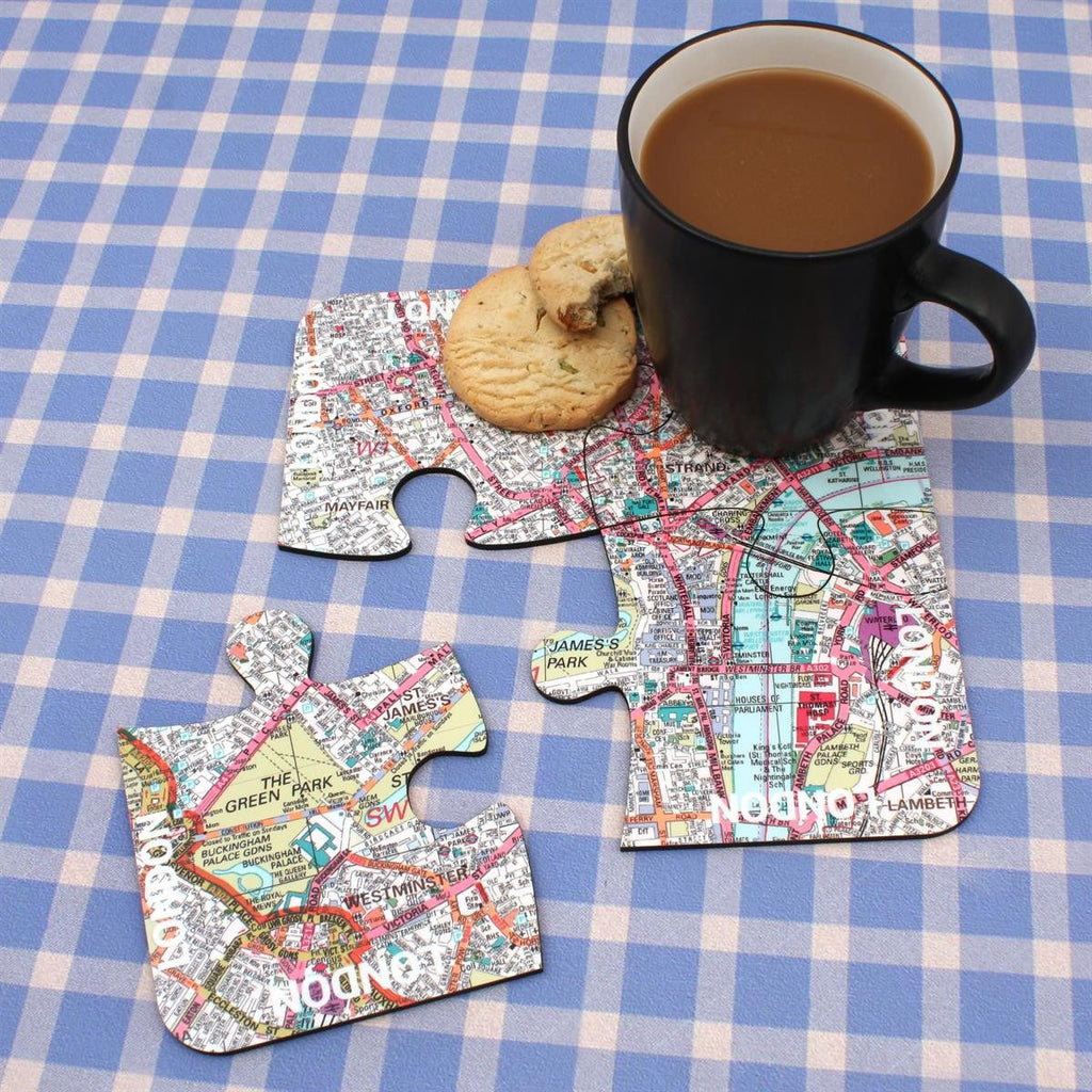 Map Gift - World City Map Jigsaw Coasters