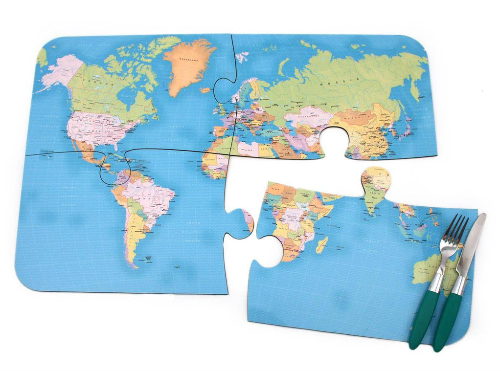 Map Gift - World Puzzle Placemats - Set Of Four