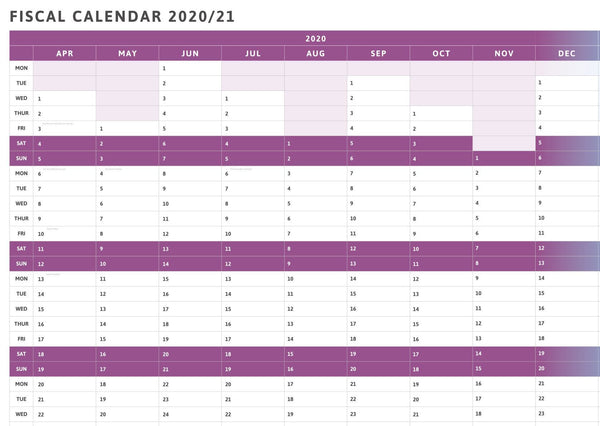 Tax Planner - 2020/21 Fiscal Wall Planner-Purple-3