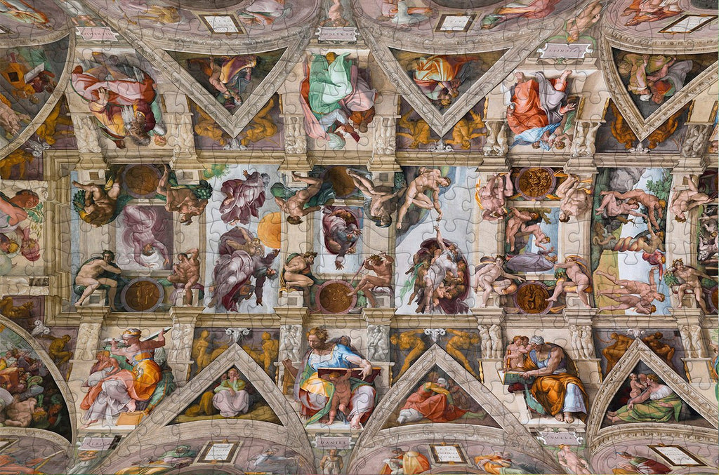Sistine Chapel Ceiling by Michelangelo 300 Piece Wooden Jigsaw Puzzle