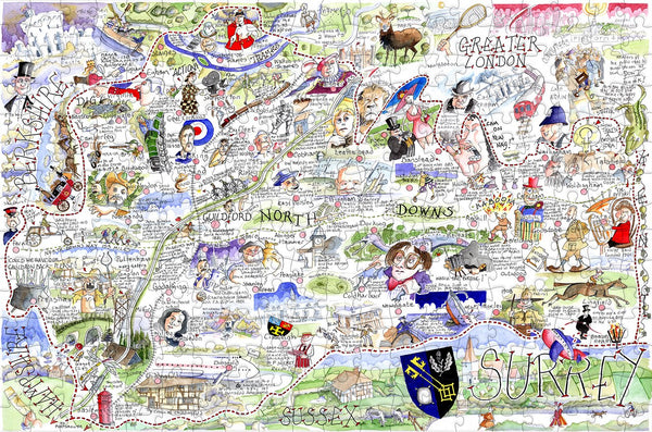 Map of Surrey - Tim Bulmer - 300 Piece Wooden Jigsaw Puzzle