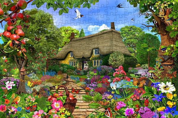 Thatched Cottage Garden 300 Piece Wooden Jigsaw Puzzle
