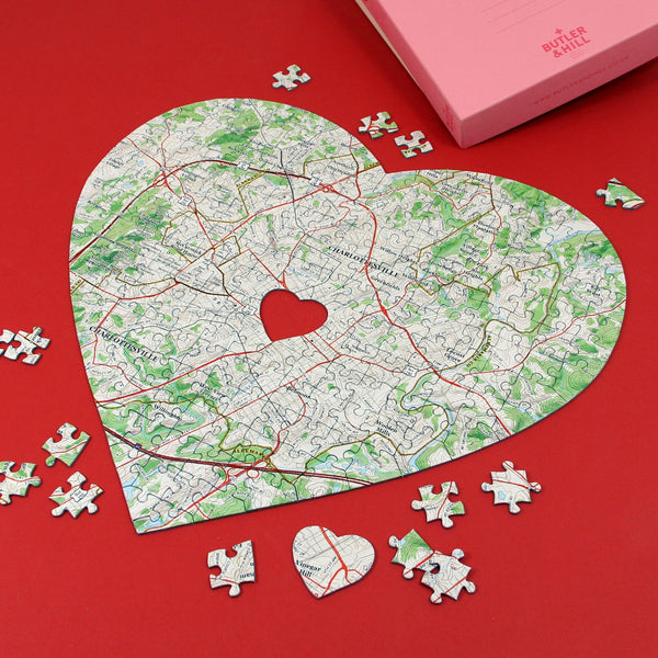 US Jigsaw Puzzle - Heart Shaped Personalized US Map Puzzle Heart Shaped Personalized US Map Puzzle