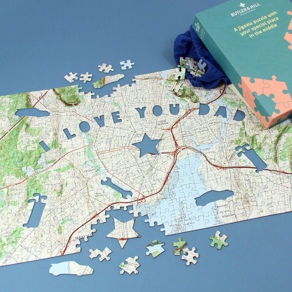 "US Jigsaw Puzzle - ""I Love You Dad"" Personalized US Map Puzzle"