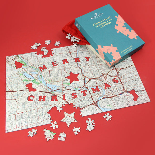 US Jigsaw Puzzle - Merry Christmas Personalized US Map Puzzle