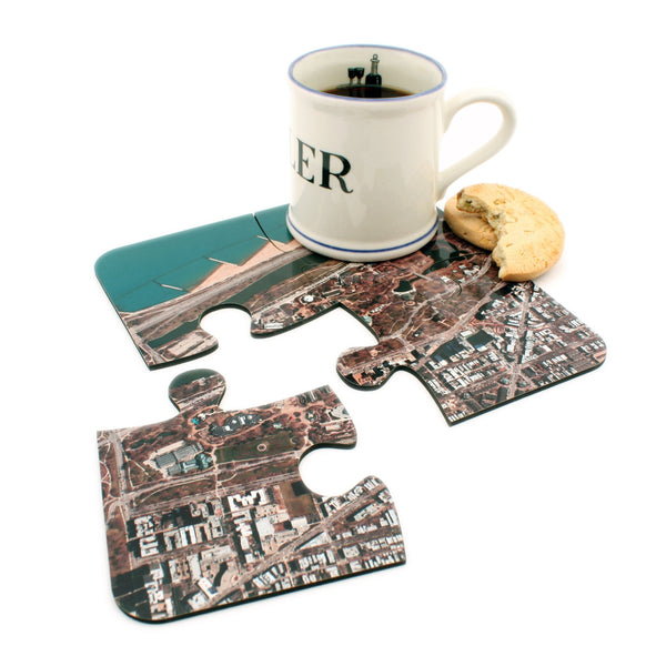 US Map Gift - Aerial Photo Puzzle Coasters - Personalized On Any US Address