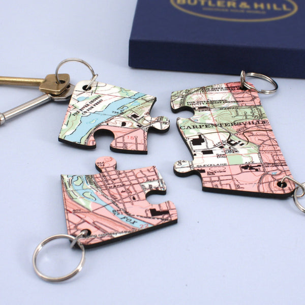US Map Gift - Key Chains With A Personalized US Map Key Chains with a Personalized US Map