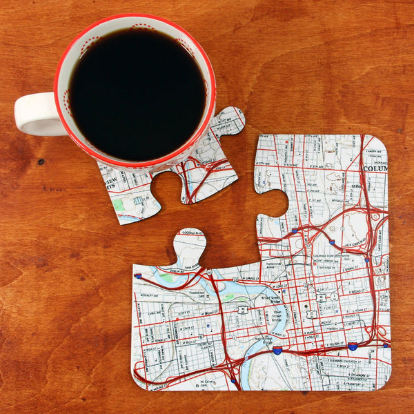 US Map Gift - US Map Puzzle Coasters - Personalized On Any US Address US Map Puzzle Coasters - Personalized on any US Address