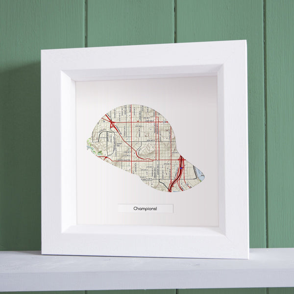 US Wall Art - Baseball Cap Personalized US Framed Map