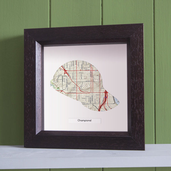 US Wall Art - Baseball Cap Personalized US Framed Map Baseball Cap Personalized US Framed Map