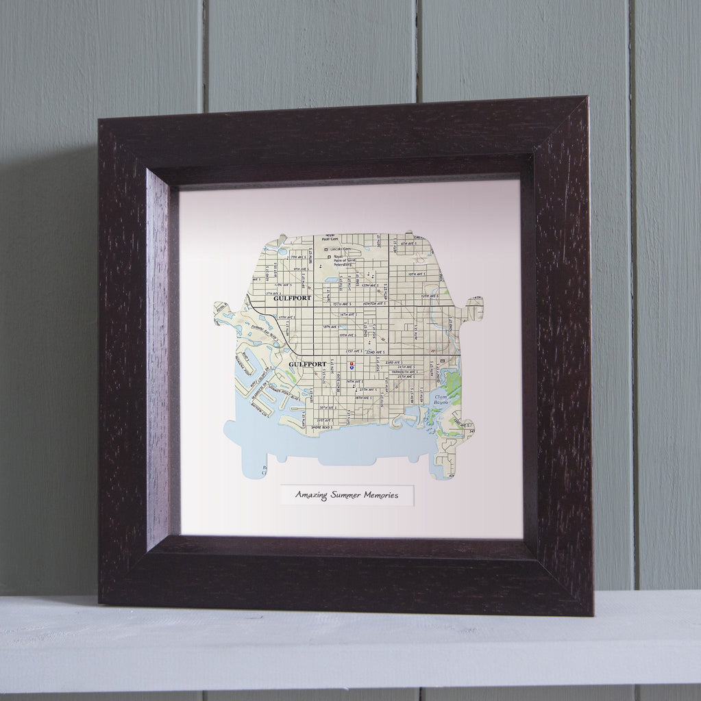 Camper Van Shaped Personalized Framed US Map Butler And Hill UK - Framed us map