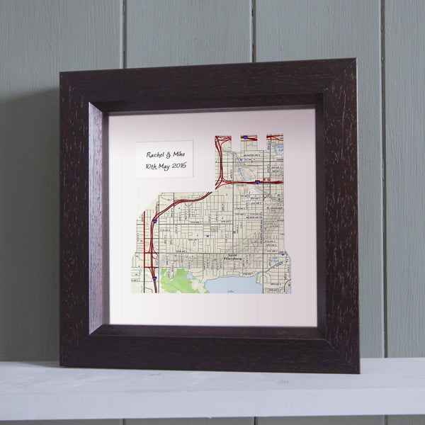 US Wall Art - Church Shaped Personalized Framed US Map Art
