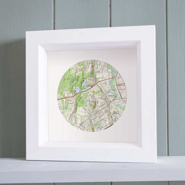 US Wall Art - Circle Shaped Personalized Framed US Map Circle Shaped Personalized Framed US Map