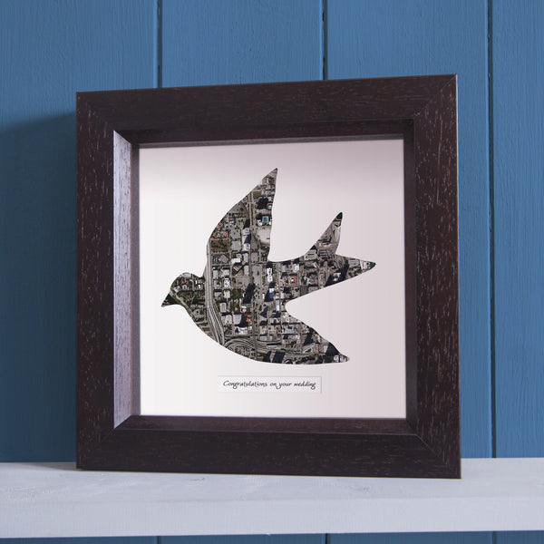 US Wall Art - Dove Shaped Personalized Map Art
