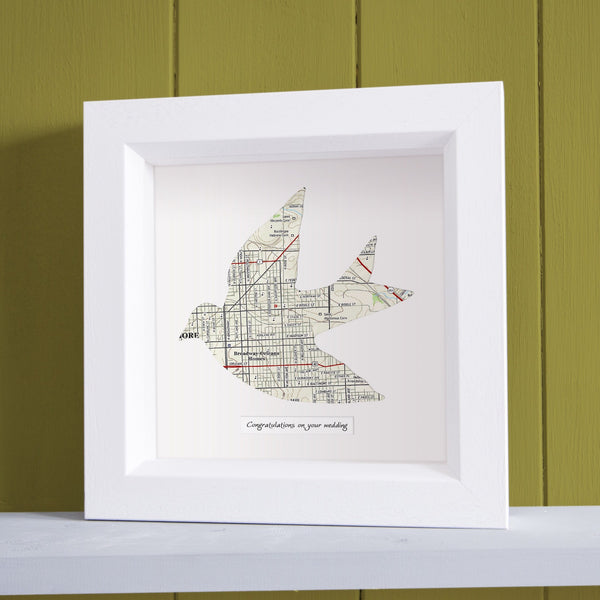 US Wall Art - Dove Shaped Personalized Map Art Dove Shaped Personalized Map Art
