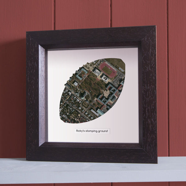 US Wall Art - Football Shaped Personalized Framed Map