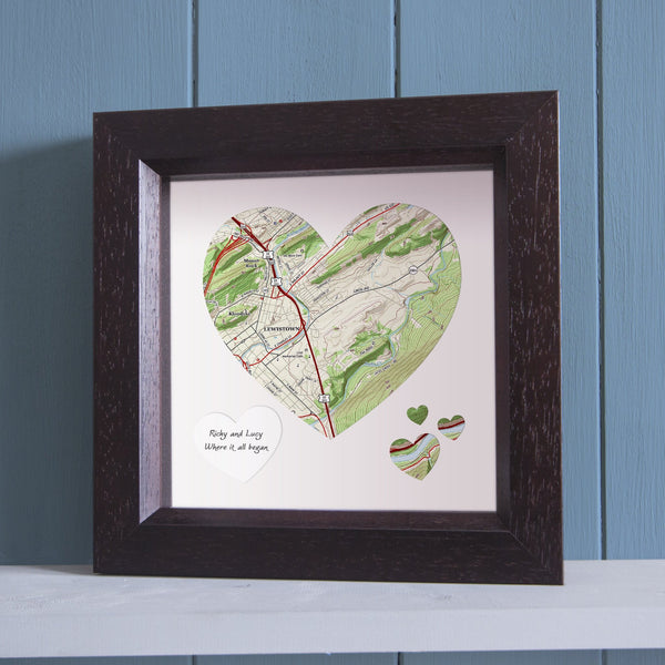US Wall Art - Heart-Shaped Personalized Framed US Wall Map