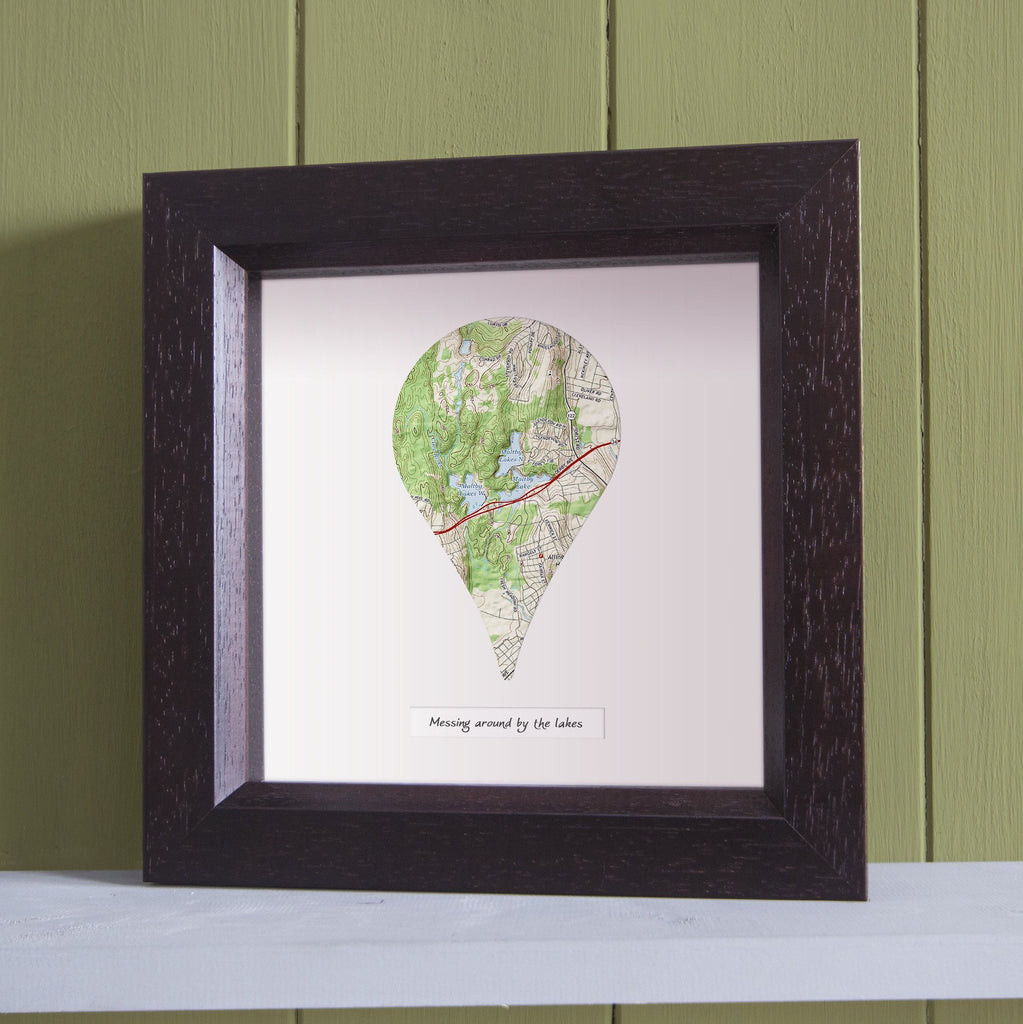US Wall Art - Map Pin - Personalized US Framed Map