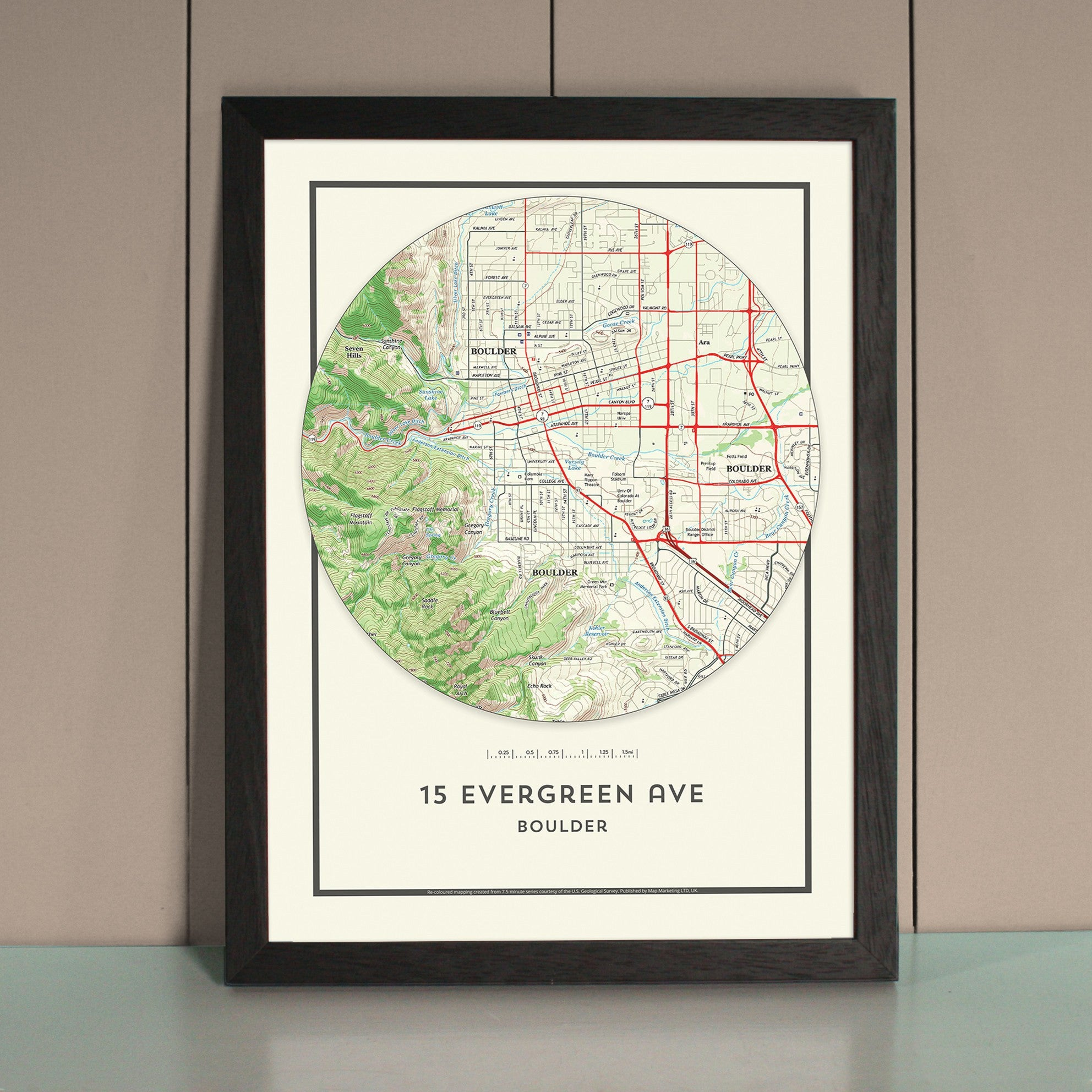 My Home In The Center Personalized Framed Us Map Circle