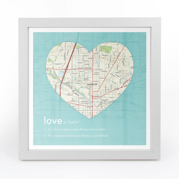 US Wall Art - Personalized Framed Dictionary Definition US Map - Love Personalized Framed Dictionary Definition US Map - Love