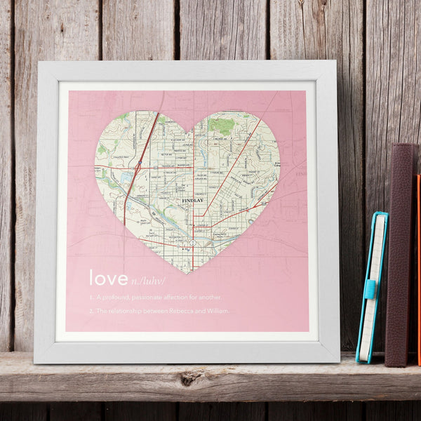 US Wall Art - Personalized Framed Dictionary Definition US Map - Love