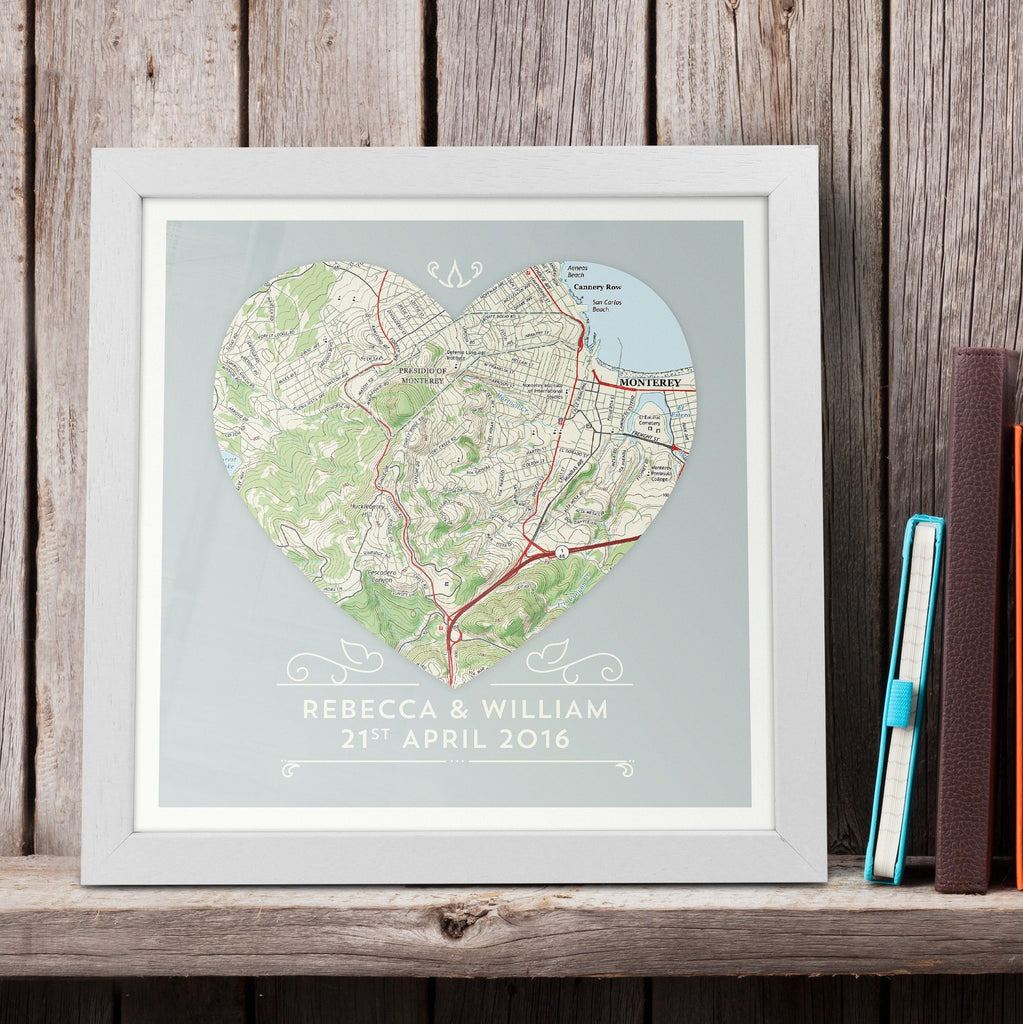 US Wall Art - Personalized Framed Heart US Map