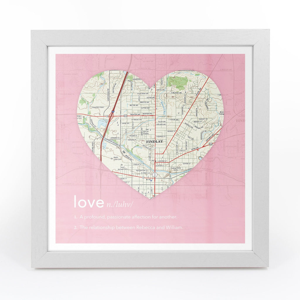Personalized Framed Heart US Map – Butler and Hill UK