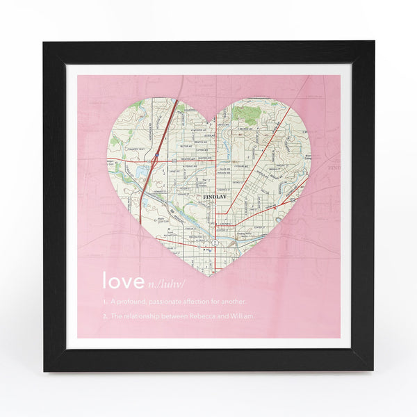 US Wall Art - Personalized Framed Heart US Map Personalized Framed Heart US Map