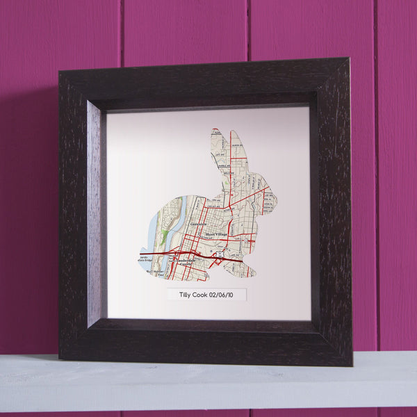 US Wall Art - Rabbit Shaped Personalized Wall Map - US