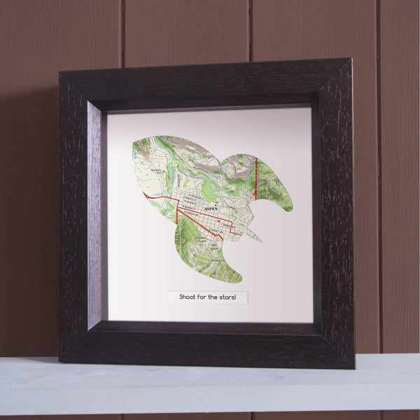 US Wall Art - Rocket Shape Personalized Framed US Map