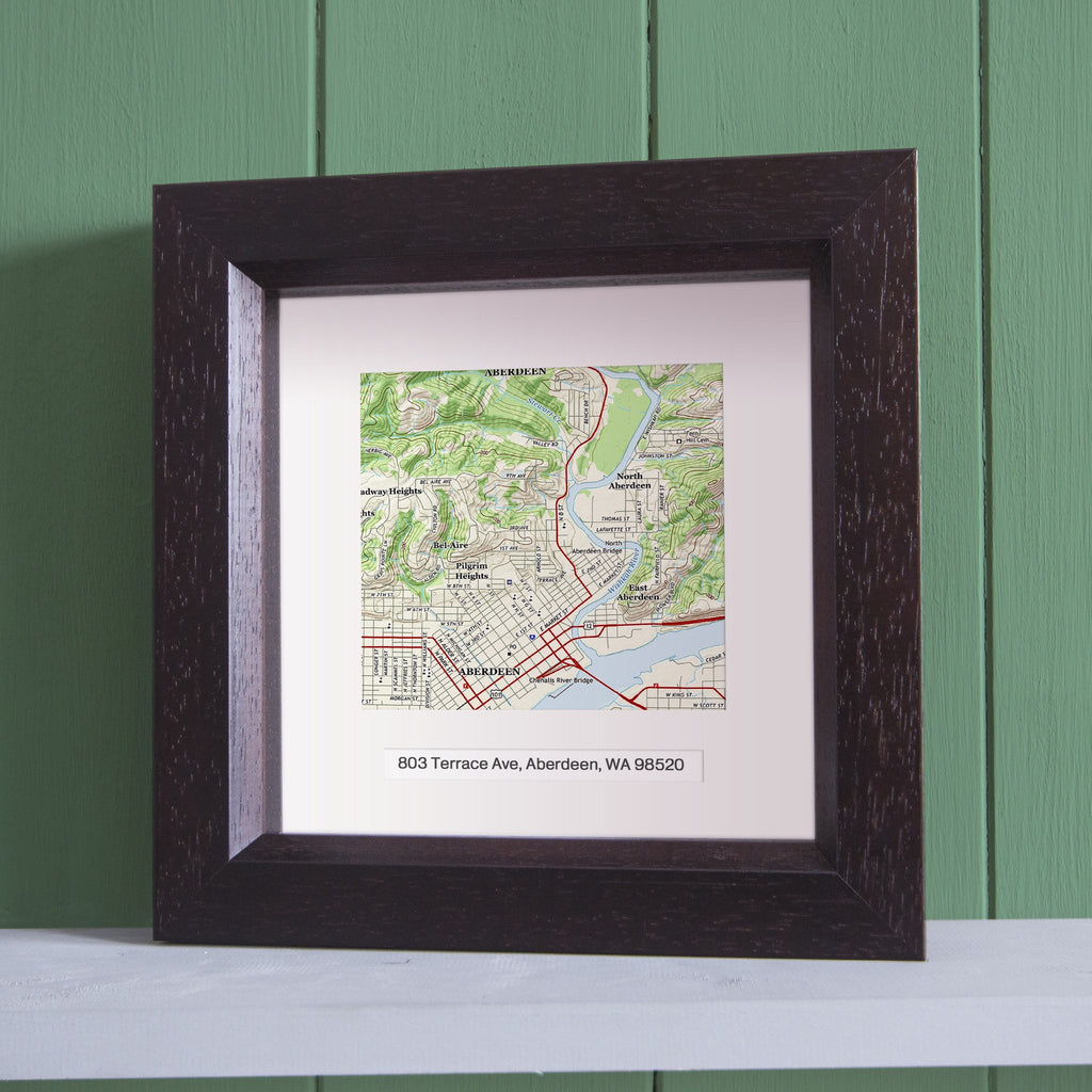US Wall Art - Square Framed Personalized US Map Wall Art