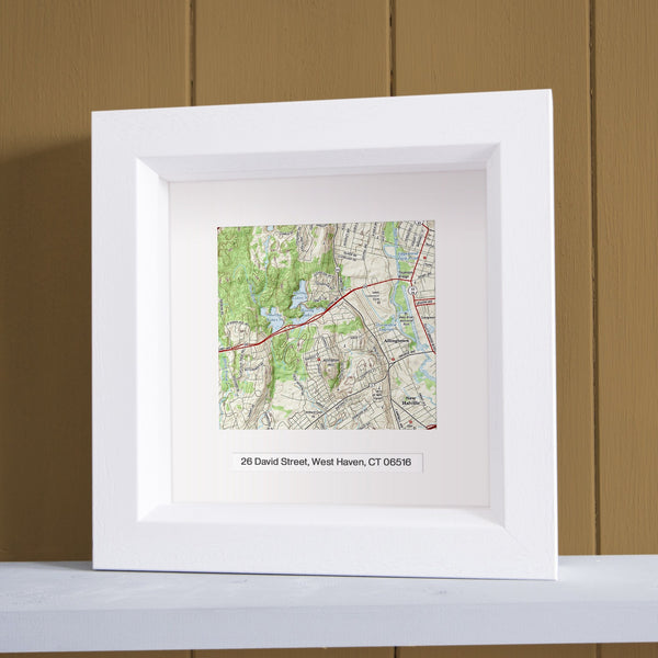 US Wall Art - Square Framed Personalized US Map Wall Art Square Framed Personalized US Map Wall Art