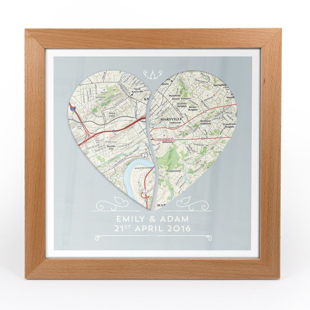 Us Map Picture Frame.Twin Heart Personalized Framed Us Map Print