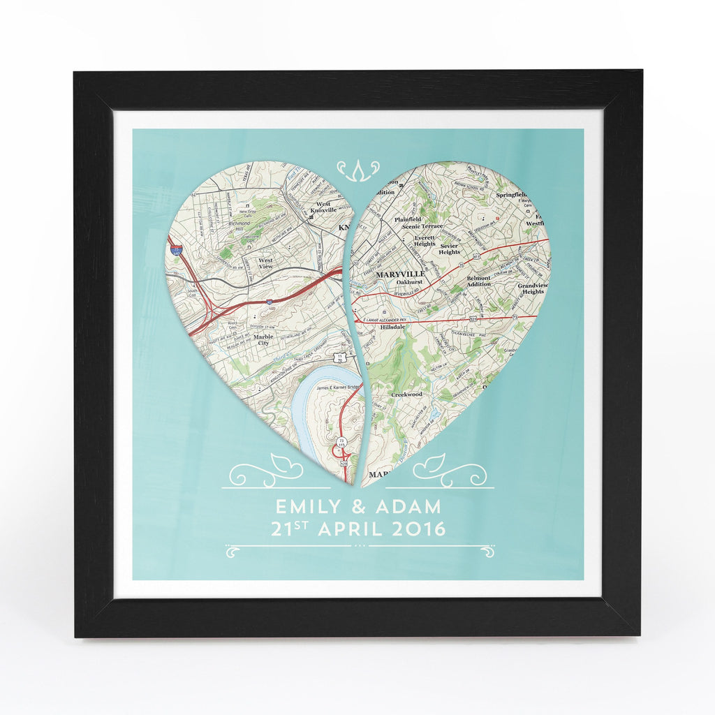 US Wall Art - Twin Heart Personalized Framed US Map Print