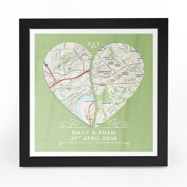 US Wall Art - Twin Heart Personalized Framed US Map Print Twin Heart Personalized Framed US Map Print